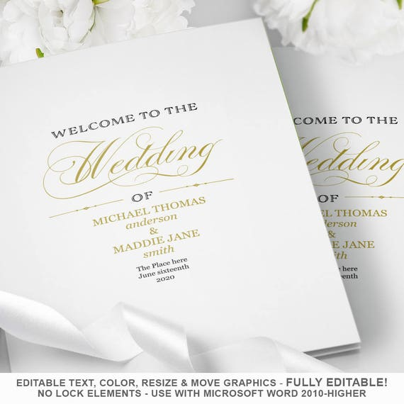 wedding program template folded wedding program printable etsy