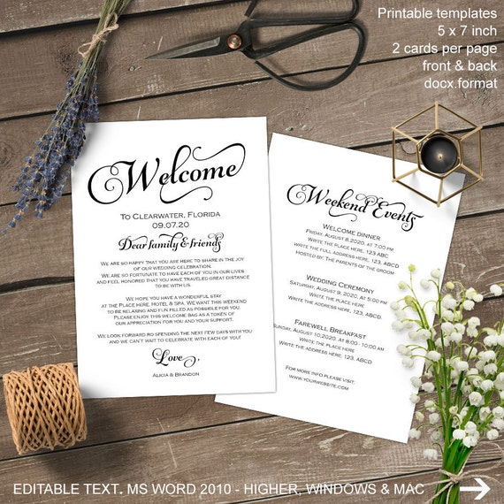 Wedding Welcome Letter Wedding Welcome Bag Note Itinerary Etsy