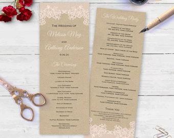 Wedding programs  Wedding program templates  Printable  Instant download  DIY  FEP  T65