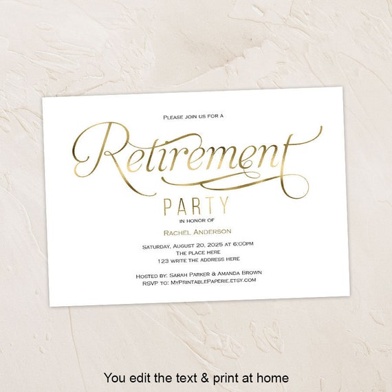 retirement invitation printable retirement invite elegant etsy