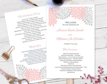 Printable fan program| DIY wedding fan programs| Editable text only| Pink gray wedding| ETP| FP| T22
