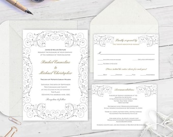 wedding invitation template download, wedding invitation set, printable wedding invites, editable wedding invitation FEWS| T23