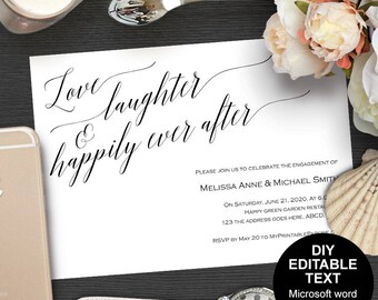 Printable engagement party, engagement party invitation, engagement party invites, we're engaged, DIY, invitation template,modern, rustic