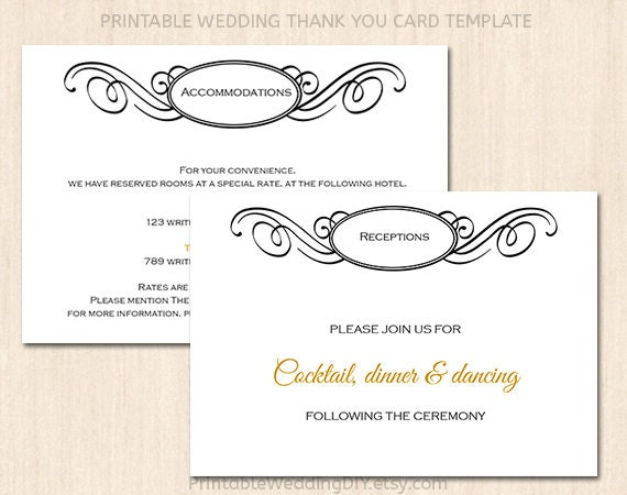 printable wedding enclosure card template wedding insert etsy