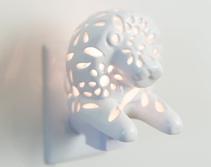Featured listing image: Handmade LED Lion Plug in LED Night Light for Safari Nursery Decor and Nursery Lamp, Nightlight for Children and Kids Room Decor