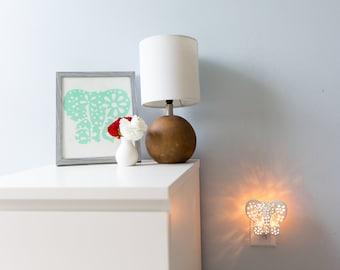 White Elephant Gift Set, Elephant Night Light and Customized Print