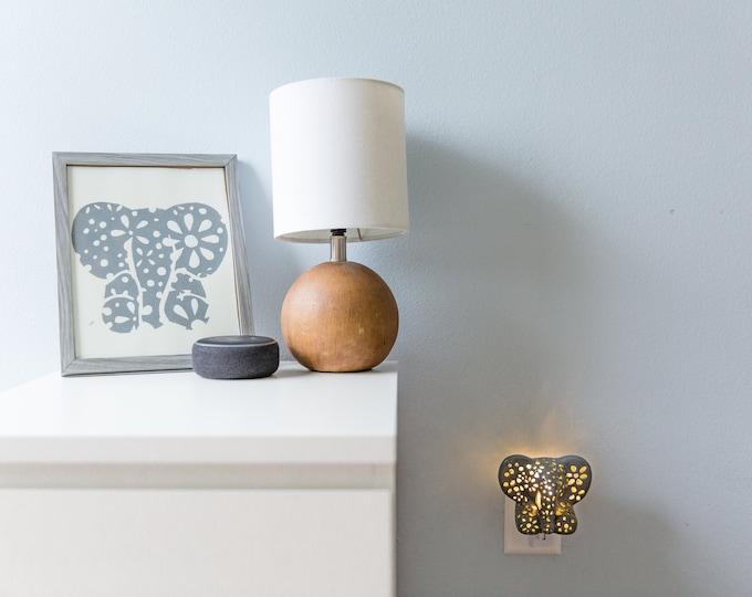 Featured listing image: Elephant Gift Set, Elephant Night Light and Customized Print