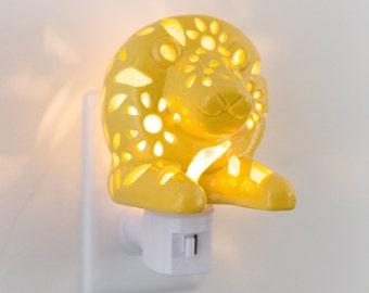 Handmade LED Lion Plug in LED Night Light for Safari Nursery Decor and Nursery Lamp, Nightlight for Children and Kids Room Decor