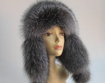 dcf64062434 Fur Hat Ushanka Silver fox fur Hat Black Real Fur Beanie Fur Women s Hats  Fur Women s Winter Hat Aviator Hat Russian Style cap with earflaps