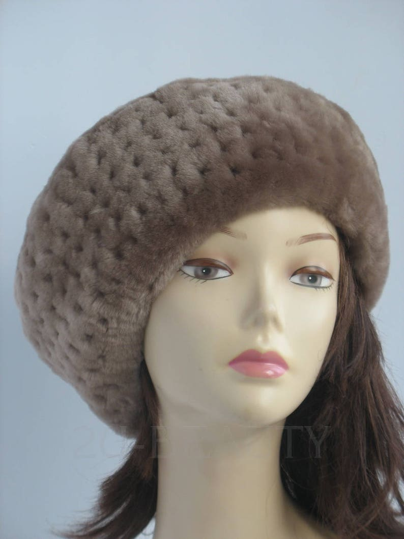 e14e7cc8f79 Beret Hat Fur Beret French Beret Womens beret tam Winter