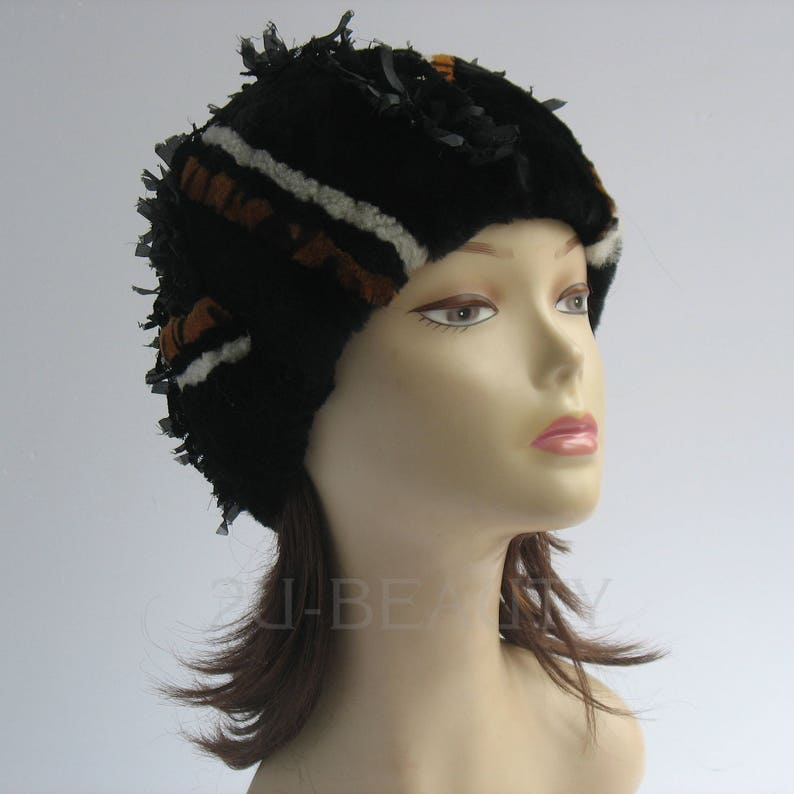 33a8734367457 Sheepskin Shearling Hat Handmade Black Hat Spring Hat For | Etsy