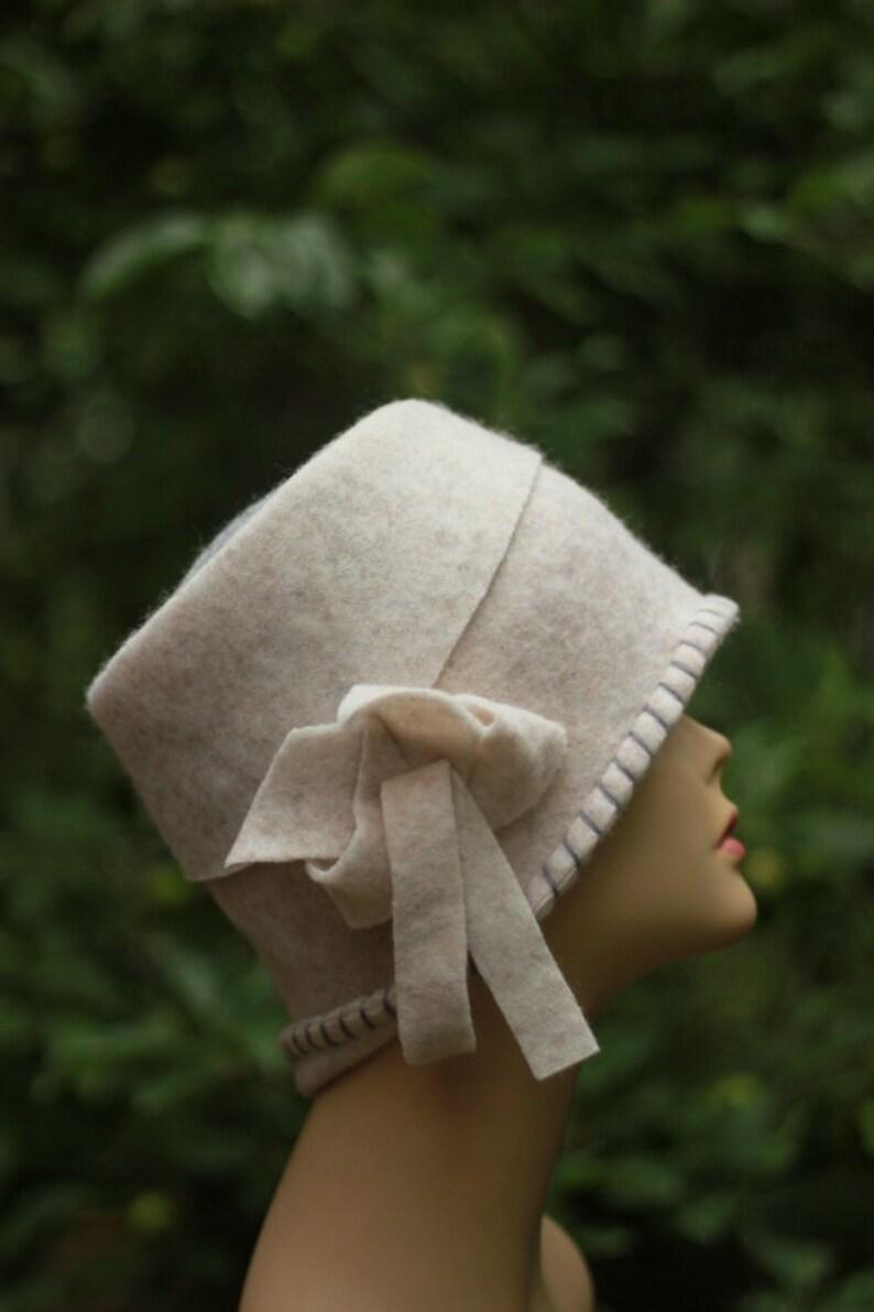 WHITE Retro Kentucky Derby Hat Garden Party Hat Tea Party Hat Church Hat Wedding hat for woman fashion hat Felted Hat Cloche hat handmade