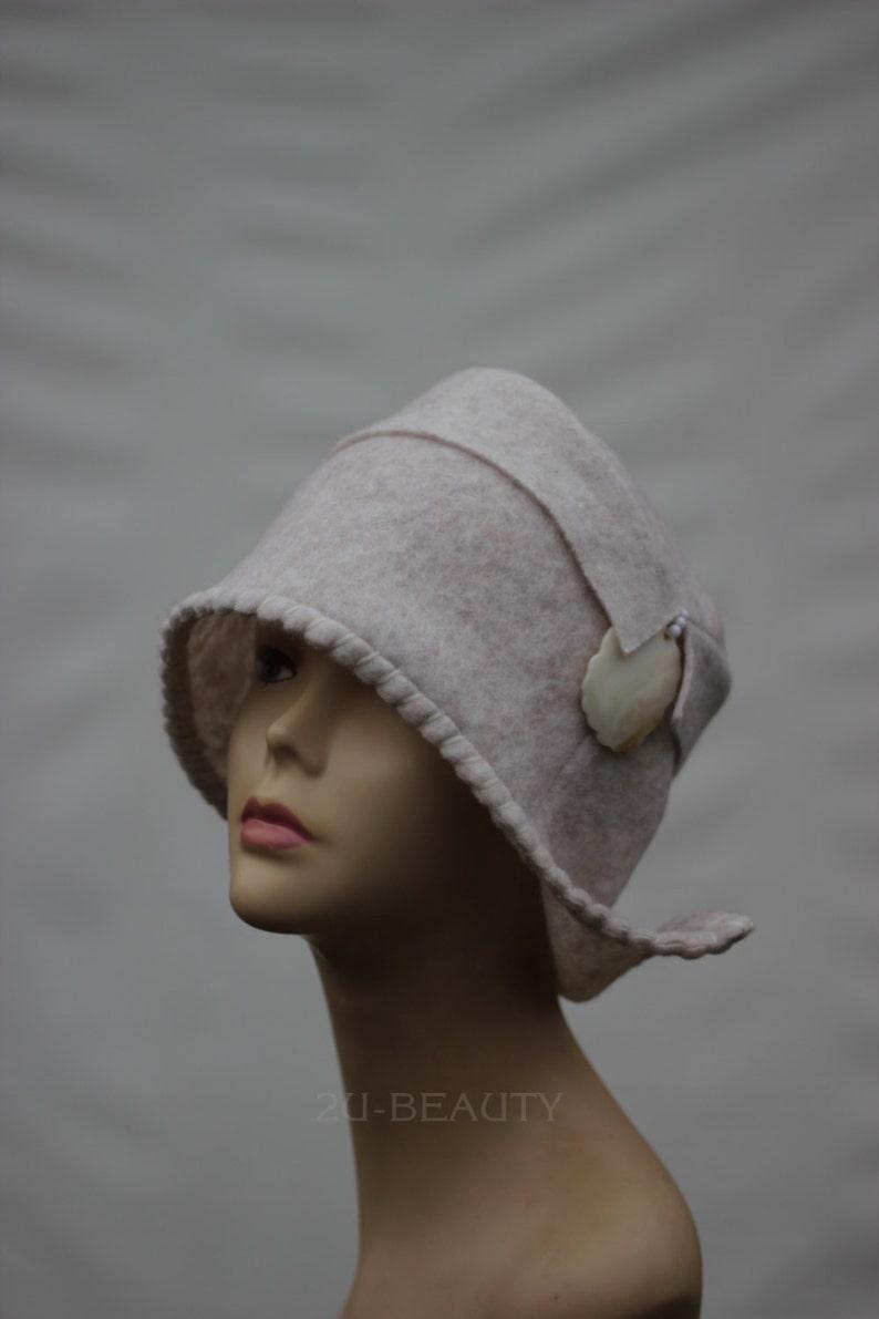 e0e110c6c Retro Wool Hat Felted ladies hat Felt wool hats Womens winter hat Ladies  winter hats Felted wool beanie 1920s hat Art hat wearable art Retro