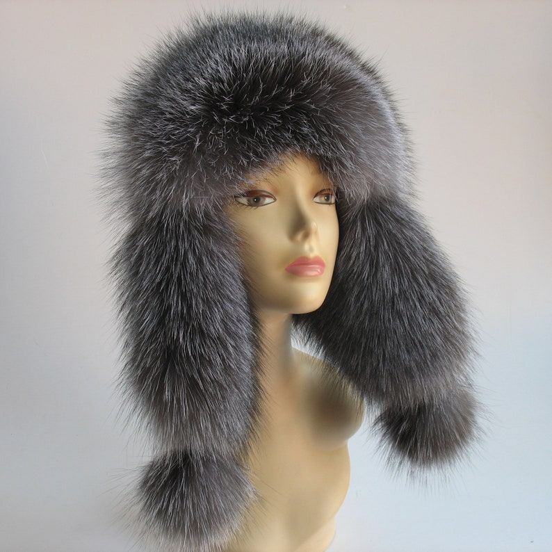 7db49c330 Fur Hat Ushanka Silver fox fur Hat Black Real Fur Beanie Fur Women's Hats  Fur Women's Winter Hat Aviator Hat Russian Style cap with earflaps