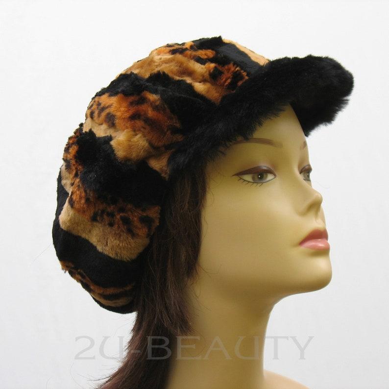 9077c33a06a24b Sheepskin Hat Orange Shearling Newsboy Cap Womens Cap Beanie | Etsy