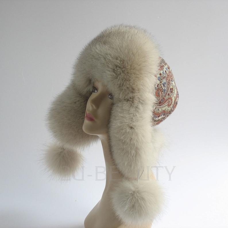8a7b38c09aab2 Fur hat Russian ushanka hat ARCTIC FOX for winter woman cap