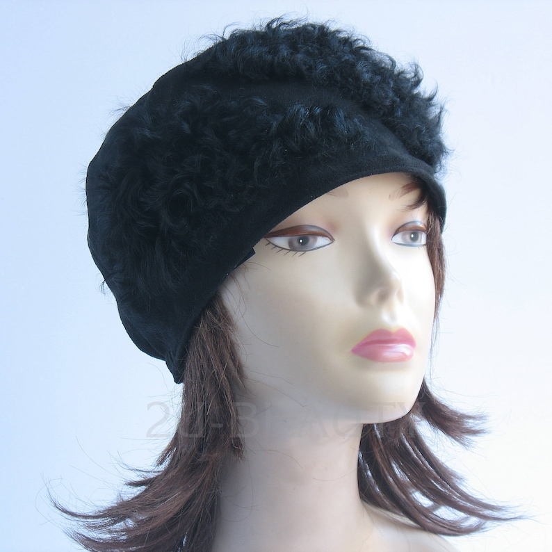 c2c99ec5eebd0 Hat Small beanie ladies hat womens handmade fabric and fur
