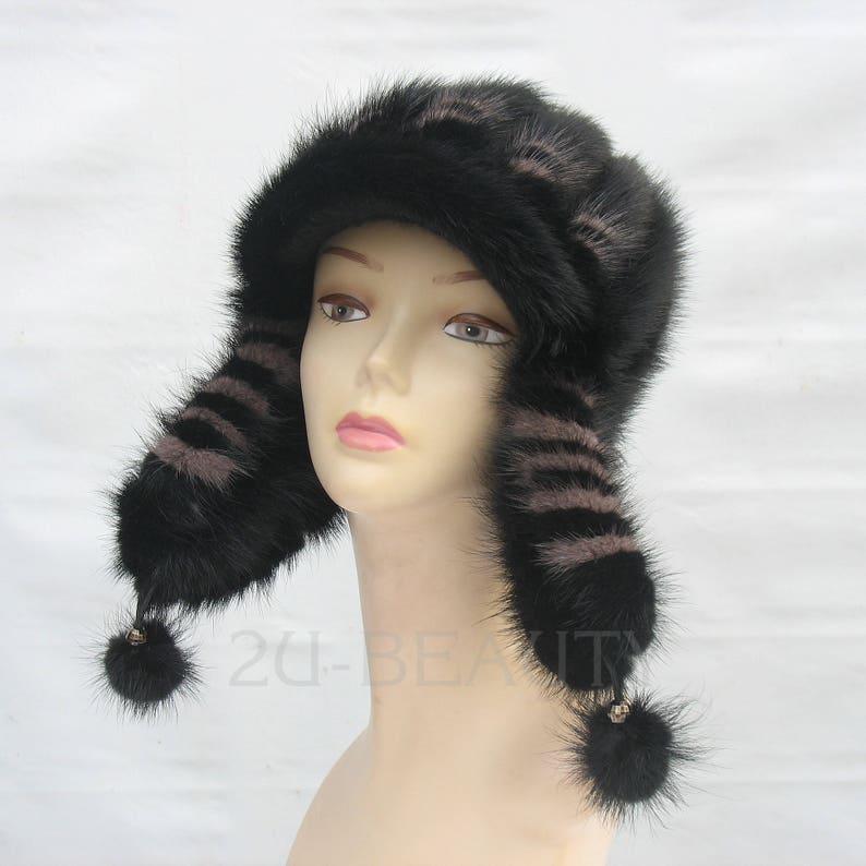 40c48644b784f2 Ushanka Winter womens beanie Mink Fur Hat Black Real Fur | Etsy