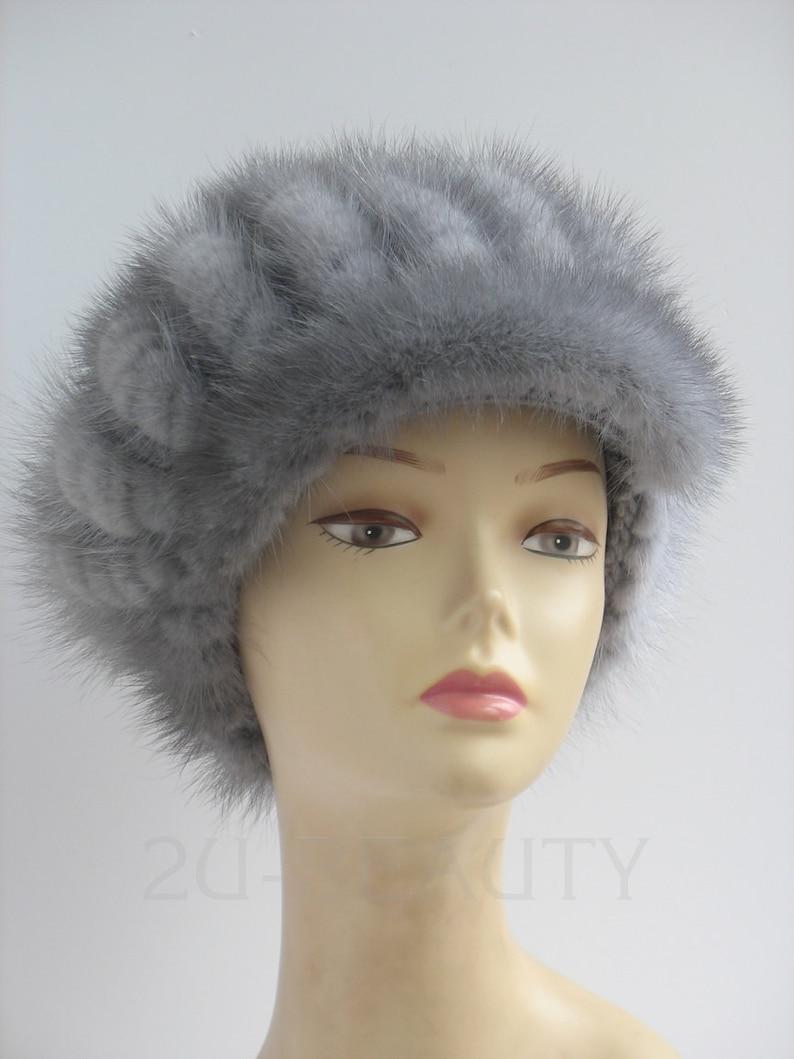 f74e1152fe9191 Newsboy Style Cable Knit beret Fur blue cap Mink Fur Ear | Etsy