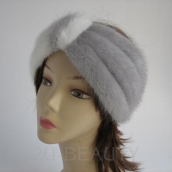 2d2ffe2196be2 Bridal Headband White Mink Fur Hair Wrap Winter Wedding