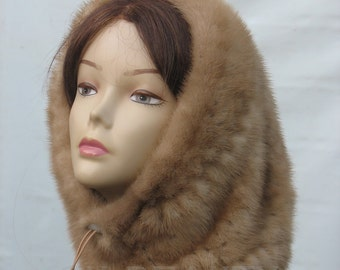Real fur snood Mink fur hats Warm women hat Winter Accessories womens Fashion Accessories Christmas Gift Ideas For Her Christmas fashion