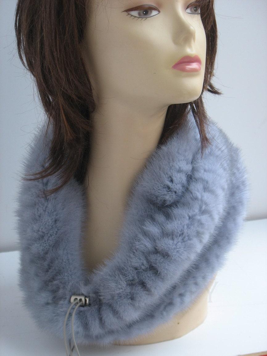 Mink Fur Snood Blue Wedding Collar Handmade Warmer Snood