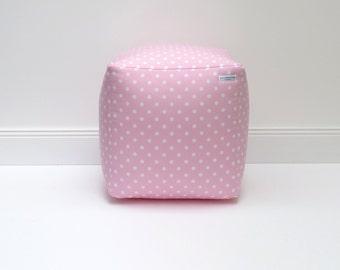 Seat cube - floor cushions - seat bag pink dots