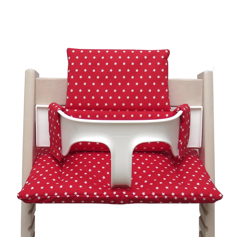 Cushion for Tripp Trapp High Chair Red with stars
