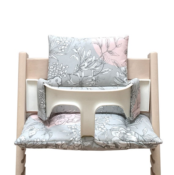 Blausberg Baby Cushion Set Coated For Stokke Tripp Trapp Highchair Cherry Blossom Grey Pink Bird