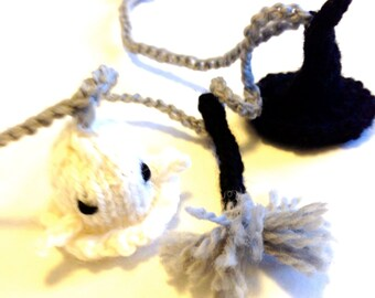 Knitted Halloween Garland with Friendly Ghosts, Witch Hats, and Witch Brooms - 4 of each miniature