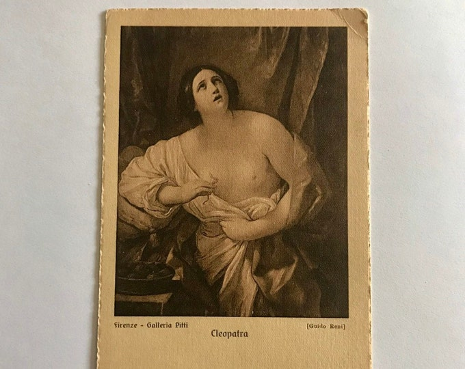 Old Postcard  Nude Cleopatra Firenze Galleria Pitti turn of the century Italian art by Guido Reni collectible .........