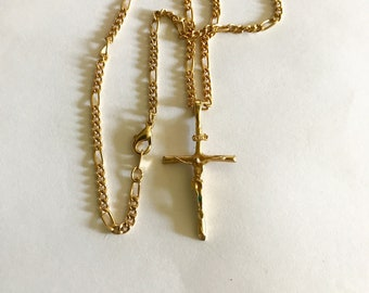 Religious catholic cross vintage gold plated  pendant necklace