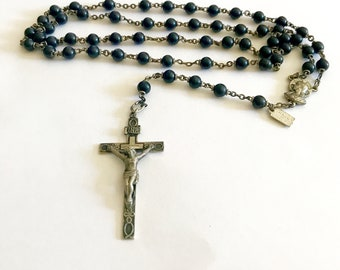 Religious catholic rosary antique cocoa bean sterling silver cross and medal made in Italian