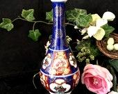 Gold Imari vase, porcelain ceramic florals gold trimmed home decor sale