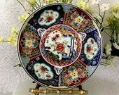 Imari plate multi color vintage kitchenware fine porcelain floral pattern