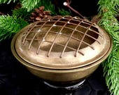 Asian censer bowl screened lid brass screen 1930 39 s