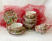 Oriental teacups and saucers set hand painted Geisha Japanese fine eggshell China