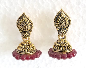 f8325bd4556e4f Vintage Bollywood tribal India jhumka Bali dangle gold plate red beads  accents earrings………………………… CoCoBlueTreasures