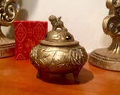 Chinese burner, censer, brass ROC footed high relief design vintage oriental collectibles