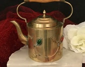 China teapot solid brass jade and coral gemstone accents https www.etsy.com shop CoCoBlueTreasures