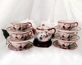 Satsuma Teapot teacups dinnerware set saucers hand painted tableware fine china set