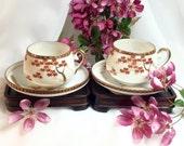 Teacup set antique eggshell porcelain Satsuma Shimazu CrestTea Espresso Demitasse Cups Saucers