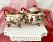 Asian ceramic antique sugar bowl creamer set eggshell bone china Satsuma hand painted geisha village kitchenwares