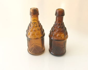Bitter bottles amber brown glass miniatures vintage set collectible glass