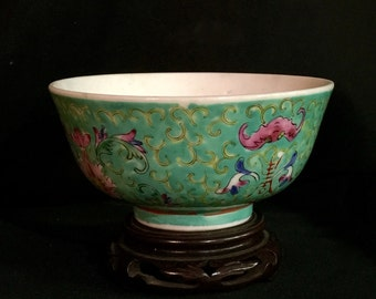 Chinese bowl 中国瓷器 porcelain floral Cloisonné enamel vintage hand painted in Hong Kong
