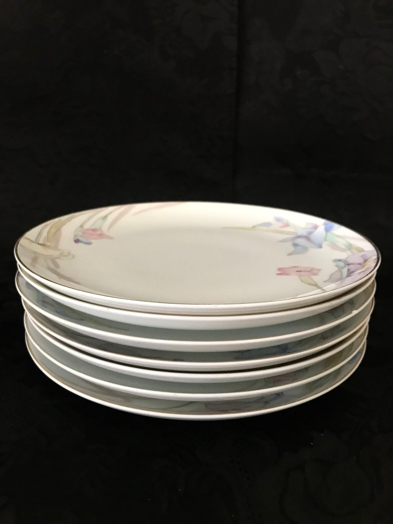 Gold Trim Replacement Mikasa fine china Gabriel pattern dinnerware salad plates  lunch plate Theater Nights Pastel Floral