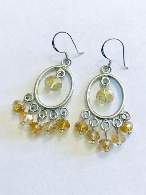 Mid century jewelry Chandelier hoop earrings Citri