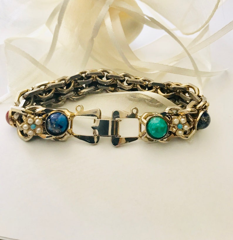 Gemstone bracelet multi colored pearl seed accents mid century fashion