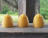 Michigan Beeswax Beehive Candle - Set of 3 - Bee - Wedding Decor - Baby Shower & Party Favors - Farmhouse Decor - Cottage - Cabin - Rustic