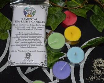 Elemental Tea Light Candles - set of 5 Earth, Air, Fire, Water & Spirit *Soy wax